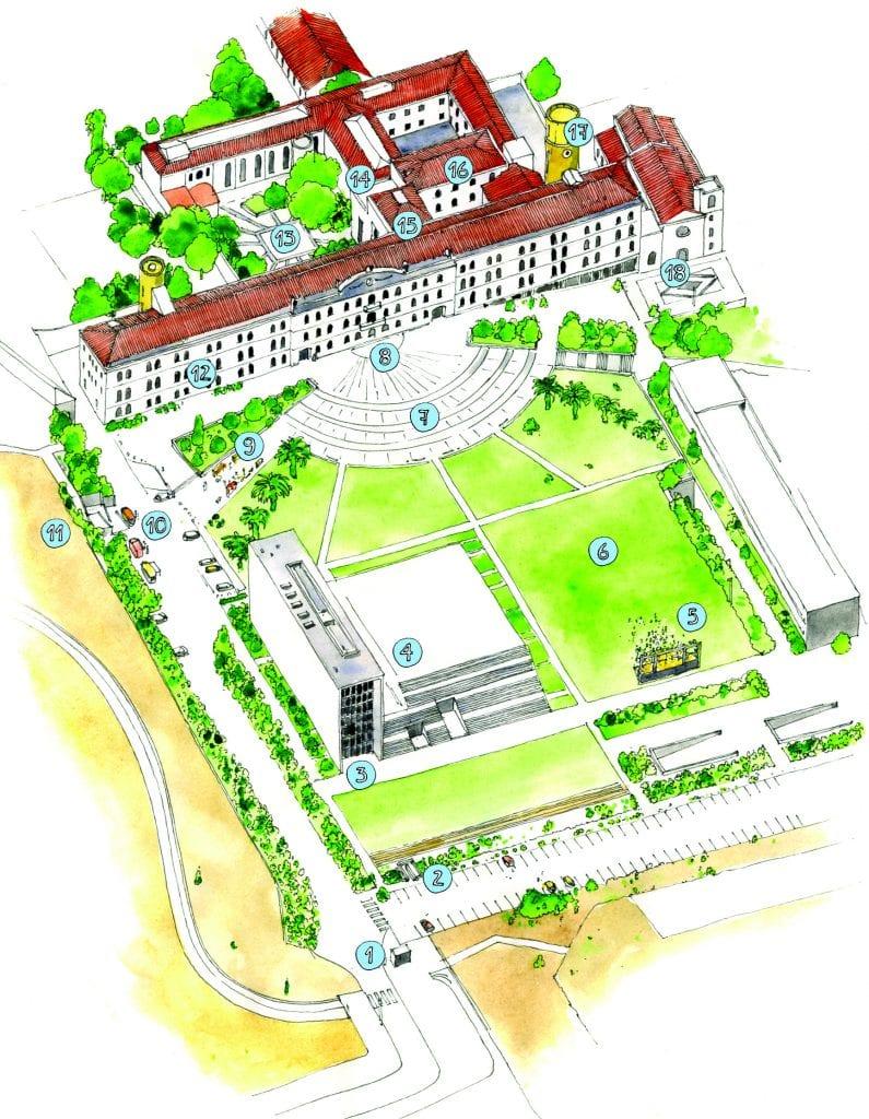 O mapa do Campus de Campolide da Universidade Nova de Lisboa, da autoria de João Moreno